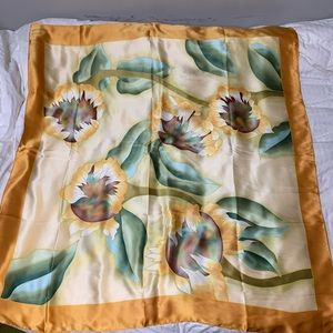Accessories - Japanese silk scarf 80 inch square sunflower print